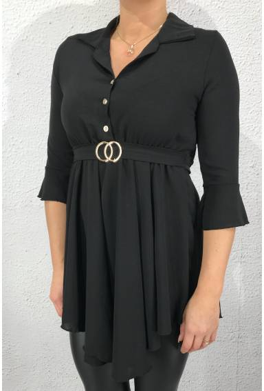 Charlotte Tunic with buckle Black