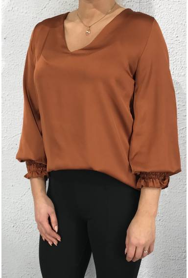 Victoria Blouse Satin Rust
