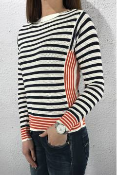 Pullover knit stripe Deep Blue/Hot orange