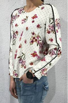Blouse printed with piping Offwhite