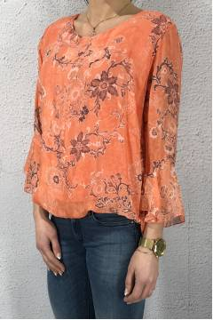 08219 Blouse paisley lacing back Corall