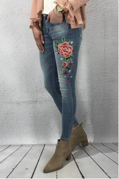 RD2201 Jeans brodyr blomma Light Denim