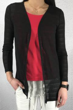 Cardigan long stripe structure Black