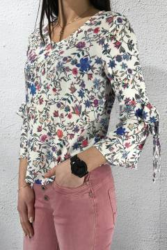 Printed matmix Flower Blouse Offwhite