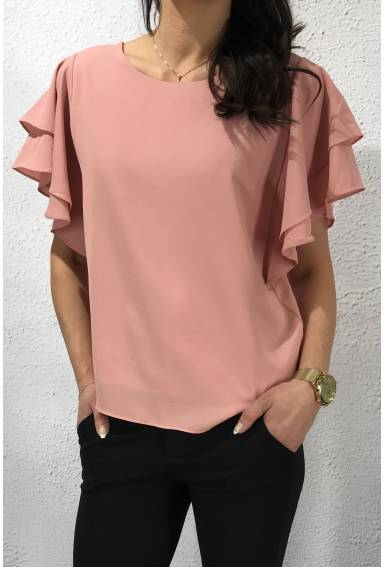 31625 Blus volang Pink
