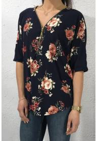 NL 2444 Ziptop Navy/Flower
