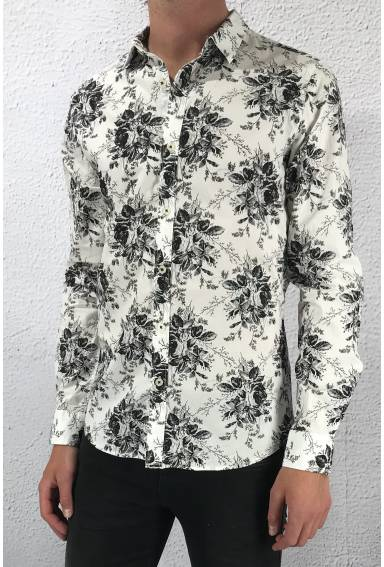 GLS 7073 Shirt flower White/Black