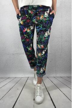 Fay tropical flower print loose Pant Deep Blue