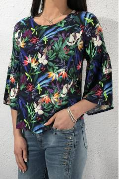 Shirt volant sleeve Flower print Deep Blue