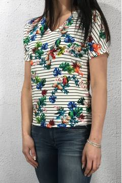 Top printed stripes White/Flower