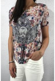 Top printed skull Stude Rose