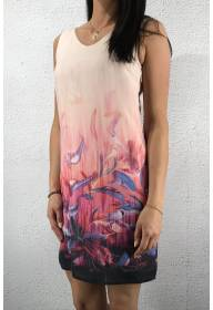 Dress printed feather Lucky Pink