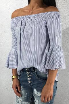 6653 Blouse stripes White/Blue