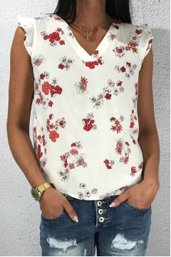 Top printed double fri White