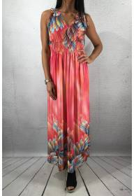 603-32 Maxidress Feather print