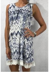 93039 Dress Zickzack Print Blue