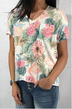815 T-shirt Flamingo White