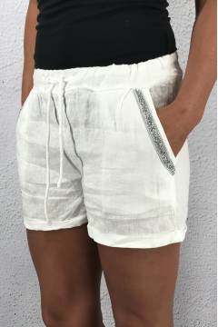 371 Linne Shorts White Bling