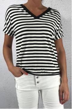 Ilka Top QR Stripe/Black