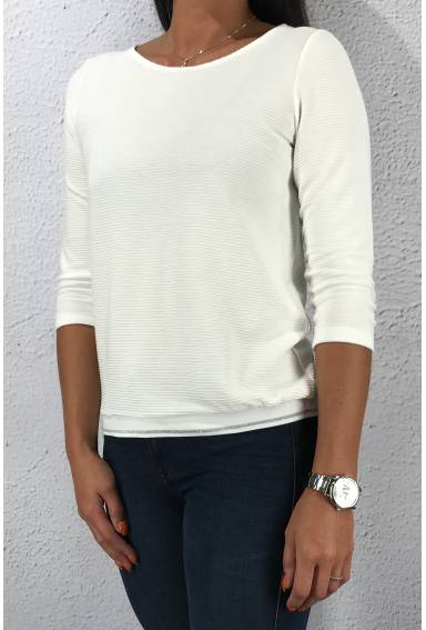 Sweater structured lurex tape Offwhite