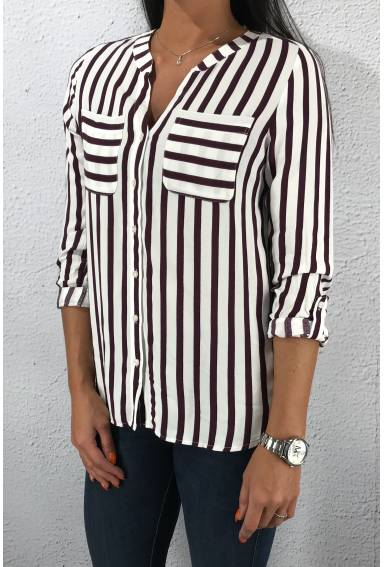 Mona QR Blouse stripes Mystique Berry