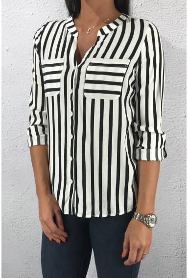 Mona QR Blouse stripes Neo Grey
