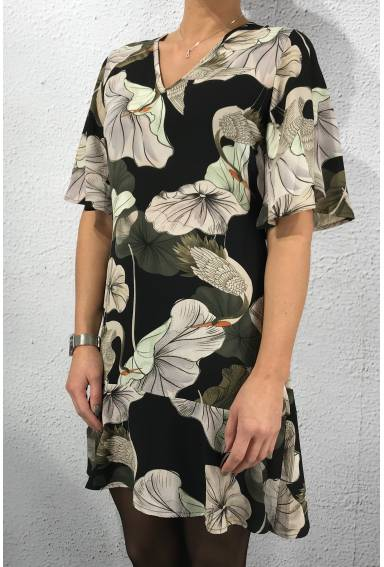 Enzo Dress Black/Flower