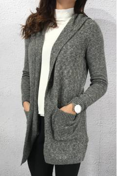 LTD QR Kayleen cardigan hood Dark Grey melange