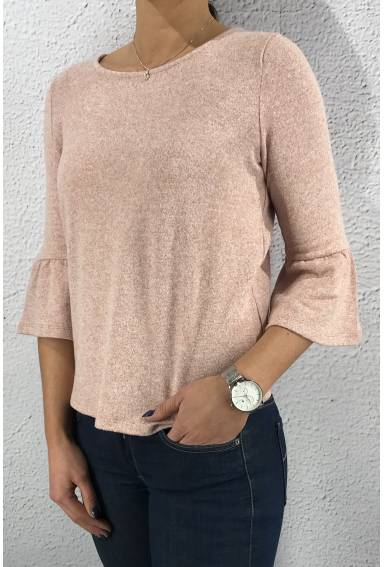 Sweater soft volant Cosy Rose