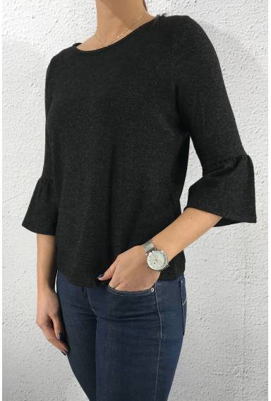 Sweater soft volant Antracit
