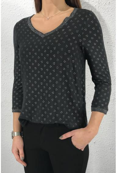 Top v-neck heartprint Neo Grey