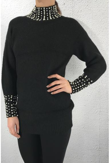 M252 Knitted sweater beads Black