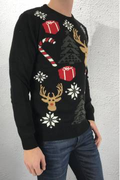 Timon Sweater christmasprint Black