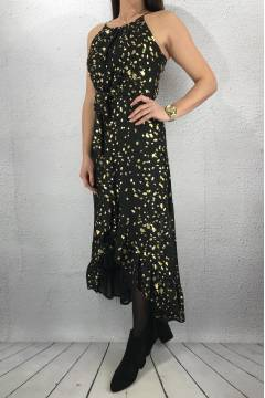 Ester Dress long Black/Gold