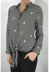Blouse stripe stars Black/White