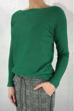Sweater knit QR boatneck Jolly Green