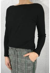 Sweater knit QR boatneck Black