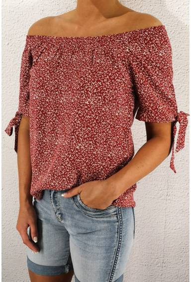 Blouse Carmen with lacing wine red