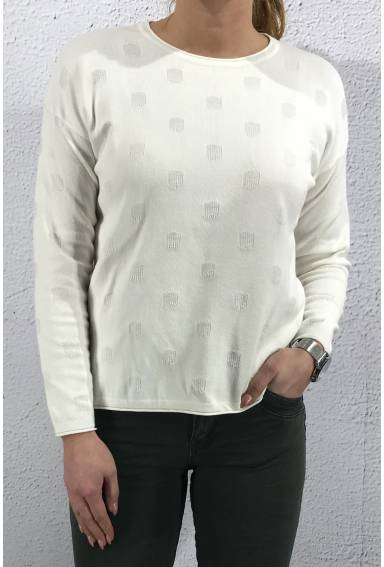 8540 Pullover Dots Off white