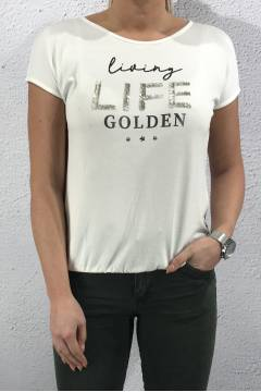 T-shirt Living life sequins off white