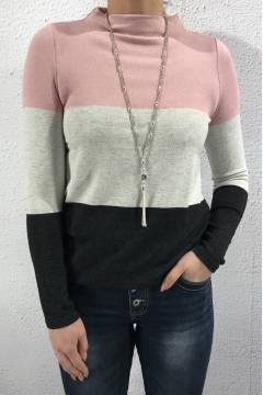 Lena sweater Colourblock orchid rose