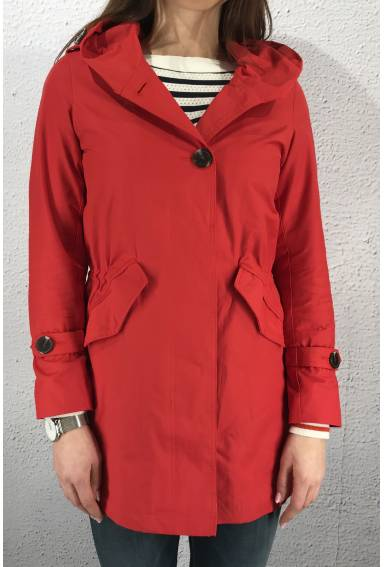 Parka with hood and botton Flame Red
