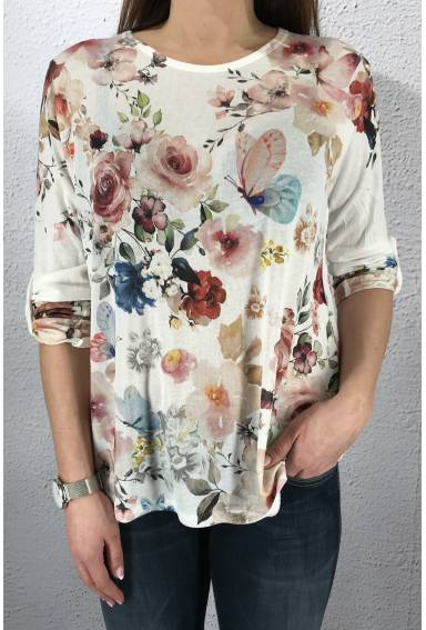 NL4405 Top knit Flower/Offwhite