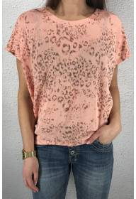 43114 T-shirt leoprint Pink