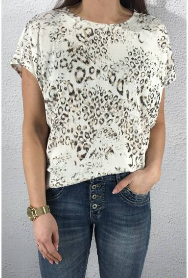 43114 T-shirt leoprint White