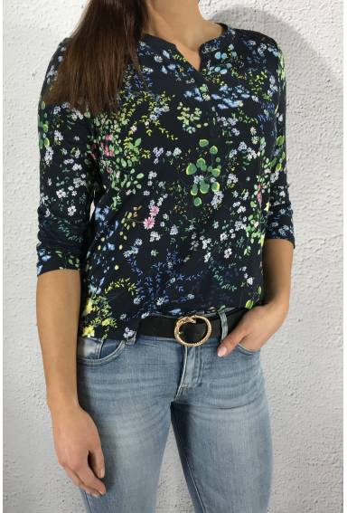 Top print lace  yoke Deep Blue