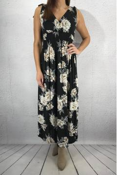 603-111  Maxidress Black/Flower