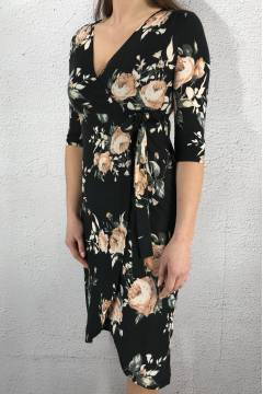 43112 Dress Black/Flower