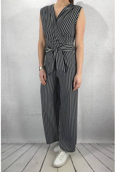 6015 Jumpsuit Navy/White