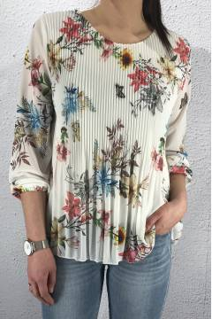 15580 Blouse plisserad Flower/White